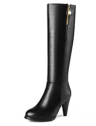 Women's Shoes Leatherette Spring Winter Fashion Boots Boots Chunky Heel Round Toe Knee High Boots Zipper For Wedding Office & Career