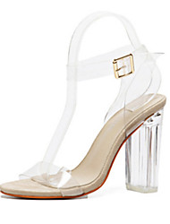cheap -Women's Shoes PVC Leather Spring Summer Comfort Novelty Sandals Chunky Heel Peep Toe Buckle For Office & Career Party & Evening Almond