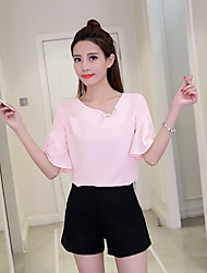 cheap -Women's Daily Casual Blouse,Solid Round Neck Short Sleeves Polyester