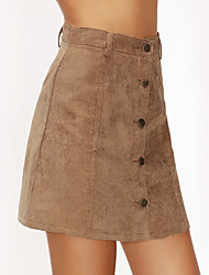 Women's Daily Holiday Mini Skirts A Line Polyester Solid Summer Fall