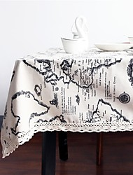 cheap -Linen / Cotton Blend Rectangular Square Table cloths Map Eco-friendly Table Decorations