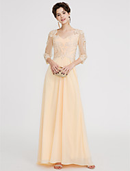 cheap -A-Line V-neck Floor Length Chiffon Lace Prom Formal Evening Dress with Beading Lace by TS Couture®