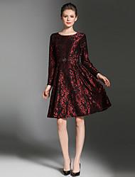 baratos -Mulheres Vintage / Sofisticado Evasê Vestido - Renda, Retalhos Mini