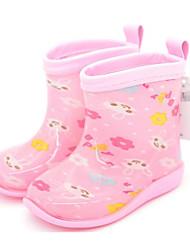 Para Meninas sapatos Borracha Primavera Outono Botas de Chuva Botas Para Casual Azul Rosa claro