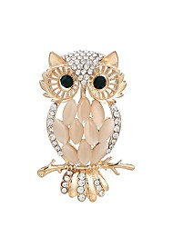 cheap -Women's Owl Cubic Zirconia / Rhinestone Rhinestone Brooches - Gold Brooch For Ceremony / Office & Career