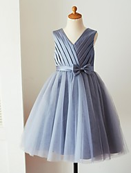 cheap -Ball Gown Knee Length Flower Girl Dress - Satin Tulle Sleeveless V Neck with Bow(s) Sash / Ribbon Pleats by LAN TING Express