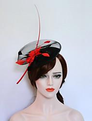 Flanela Pena Fascinador Chapéus Capacete