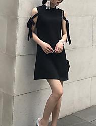 Damen Das kleine Schwarze Kleid-Ausgehen Solide Rundhalsausschnitt Übers Knie Ärmellos Andere Sommer Mittlere Hüfthöhe Mikro-elastisch