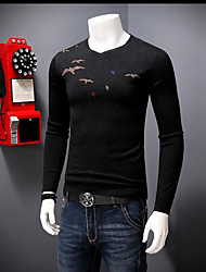 cheap -Men's Daily Going out Regular Pullover,Print Round Neck Long Sleeves Rayon Spring Fall Medium Micro-elastic
