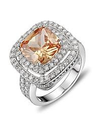 economico -Per donna Anello di fidanzamento Zircone cubico Gioielli di Lusso Elegant Argento sterling Zirconi Quadrato Gioielli Per Cerimonia Evento