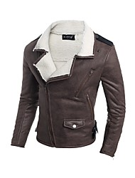 cheap -Men's Daily Going out Simple Casual Active Street chic Winter Fall Regular Leather Jacket V Neck PU Polyester Lamb Fur Print