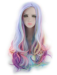 cheap -Women Synthetic Wig Capless Long Wavy Natural Wave Deep Wave Rainbow Lolita Wig Party Wig Halloween Wig Cosplay Wig Costume Wig