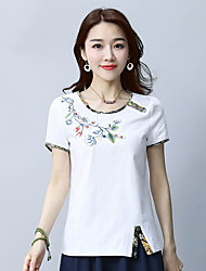 cheap -Women's Daily Chinoiserie T-shirt,Embroidery Round Neck Short Sleeves Cotton Linen