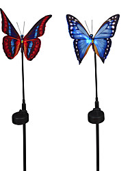 2PCS Butterfly Rechargeable Solar Powered Garden Lawn Decoration Lamp Fibre Optical with Sensor RGB Changing Light