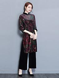 Gaine Robe Femme Sortie Fleur Col Rond Claudine Midi Manches 3/4 Polyester Printemps Automne Taille haute Non Elastique Moyen