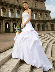 cheap -Ball Gown Sweetheart Chapel Train Lace Satin Custom Wedding Dresses with Embroidery Pick Up Skirt by LAN TING BRIDE®