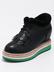 Women's Shoes Leatherette Spring Fall Comfort Light Soles Boots Creepers Round Toe Booties/Ankle Boots Braided Strap Lace-up Tassel For