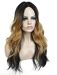 cheap -Women Synthetic Wig Half Capless Long Natural Wave Curly Medium Brown/Strawberry Blonde Ombre Hair Celebrity Wig Natural Wigs Costume Wig