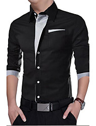 cheap -Men's Daily Casual Spring Fall Shirt,Solid Shirt Collar Long Sleeves Polyester Medium