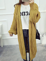 cheap -Women's Long Sleeve Cotton Long Cardigan - Solid Colored V Neck / Fall