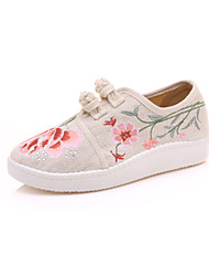 cheap -Women's Shoes Linen Spring Fall Fluff Lining Comfort Novelty Loafers & Slip-Ons Flat Heel Round Toe Buckle For Outdoor Party & Evening