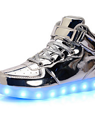 cheap -Boys' Shoes PU Spring Fall Light Up Shoes Comfort Novelty Sneakers Magic Tape LED Lace-up For Casual Outdoor Silver Gold