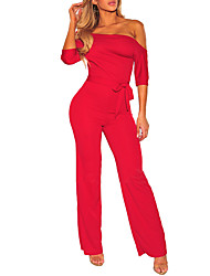 cheap -Women's Daily Club Casual Sexy Solid One Shoulder Jumpsuits,Wide Leg Spring Fall Polyester