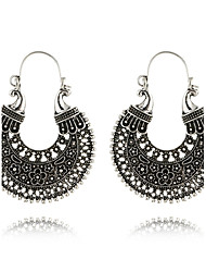 cheap -Women's Drop Earrings / Hoop Earrings - Silver Plated Vintage, Bohemian, Boho Black / Silver For Casual / Going out