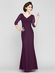 cheap -Sheath / Column V Neck Floor Length Chiffon Mother of the Bride Dress with Beading Criss Cross Side Draping by LAN TING BRIDE®