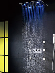 cheap -LED Modern/Contemporary Shower System Rain Shower Handshower Included Ceramic Valve Three Handles Eight Holes Chrome, Shower Faucet