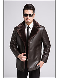 cheap -Men's Daily Simple Casual Winter Blazer,Solid Square Neck Long Sleeve Regular Lambskin