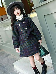 Girls' Plaid Jacket & Coat,Cotton Polyester Fall Winter Long Sleeve