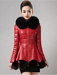 Недорогие -Жен. Пальто с мехом Воротник Питер Пен Однотонный, Полиуретановая