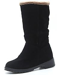 Недорогие -Жен. Обувь Кашемир Зима Зимние сапоги Ботинки На низком каблуке Круглый носок для Повседневные Черный Серый Зеленый
