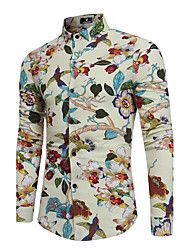 cheap -Men's Party Vintage Chinoiserie Boho Cotton Linen Slim Shirt - Floral, Print Classic Collar