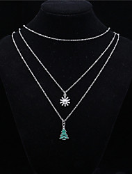 Women's Pendant Necklaces Crystal Star Tree of Life Alloy Basic Chrismas Jewelry For Daily Casual
