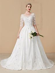 robe de bal d'illusion décolleté tribunal train robe de mariage en tulle avec perles par yuanfeishani