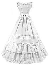 abordables -Epoque Médiévale Costume Femme Robes Bal Masqué Costume de Soirée Blanc Bleu Vintage Cosplay Autre Coton Mancheron Longueur Sol