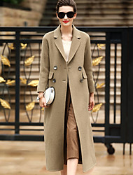 Women's Daily Wear to work Simple Casual Winter Coat,Solid Tailored Collar Long Sleeves Long Wool Button