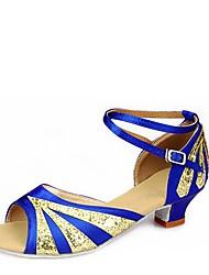 cheap -Kids' Kids' Dance Shoes Paillette Elastic Satin Sandal Indoor Low Heel Blue Red 1 - 1 3/4