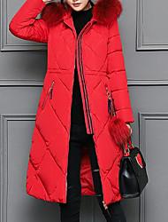 preiswerte -Damen Daunenjacke Mantel Einfach Lässig/Alltäglich Solide-Kaschmir Baumwolle Langarm
