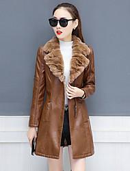 Недорогие -Для женщин На выход Большие размеры Осень Зима Кожаные куртки Лацкан с острым углом,Уличный стиль Однотонный Обычная Длинный рукав,