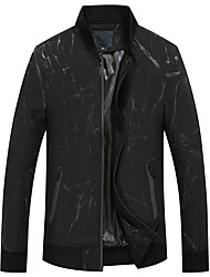 Men's Daily Simple Casual Fall Jackets,Solid V-neck Long Sleeves Regular Nylon Others