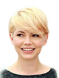 cheap -Human Hair Capless Wigs Human Hair Straight Side Part Short Machine Made Wig Women's