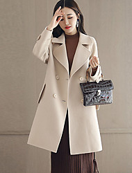 cheap -Women's Going out Street chic Winter Fall Coat,Solid Peaked Lapel Long Sleeve Regular Cashmere Polyester