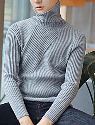 cheap -Men's Daily Casual Short Pullover,Solid Turtleneck Long Sleeve Cotton Acrylic Winter Fall/Autumn Thick Micro-elastic