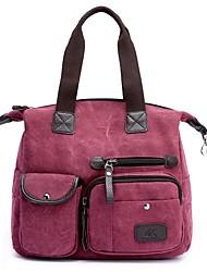preiswerte -Damen Taschen Leinwand Umhängetasche Reißverschluss für Normal Ganzjährig Rote Grau Fuchsia Kaffee Khaki