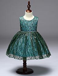 abordables -Robe Fille de Vacances Couleur Pleine Polyester Sans Manches simple Mignon Princesse Bleu Vert Rouge Gris