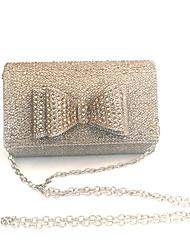 preiswerte -Damen Taschen PVC / Satin Abendtasche Schleife(n) Gold / Schwarz / Silber