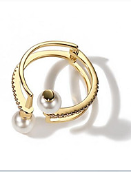 cheap -Women's Cuff Ring Fashion Korean Imitation Pearl Alloy Circle Jewelry For Other Daily
